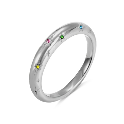 Personalized Star Birthstones Ring