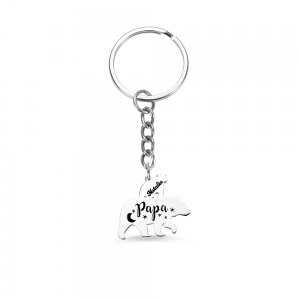 Personalized Papa Bear Keychain for Dad