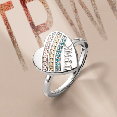 Personalized TPWK  Birthstone ring