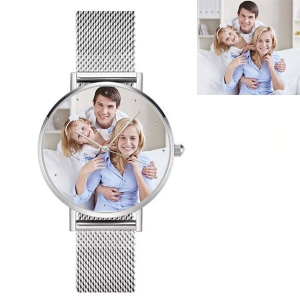 Engraved Men's Photo Alloy Watch in Silver