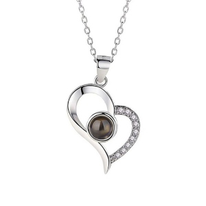 33b2012ae9 Personalized Projection Necklace that Says I Love You in 100 Languages