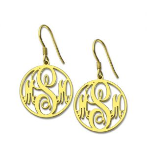 Personalized Circle Monogram Earrings 18K Gold Plated Silver