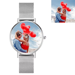 Engraved Women's Photo Alloy Watch Silver