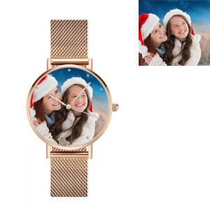 Engraved Men's Photo Net Belt Watch in Rose Gold
