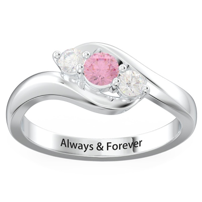 Personalized 3-Stone Swirl Promise Ring