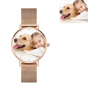 Engraved Women's Photo Net Belt Watch in Rose Gold