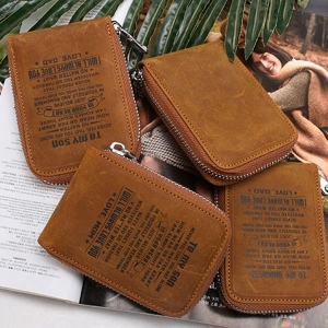 Personalized RFID Blocking Genuine Leather ID Card Wallet