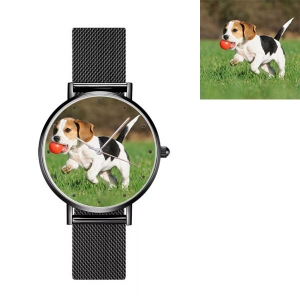 Engraved Women's Photo Black Net Belt Watch
