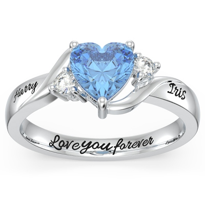 Engraved Heart Stone Promise Ring
