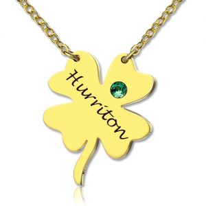 Good Luck Thing: Clover Name Necklace 18k Gold Plated
