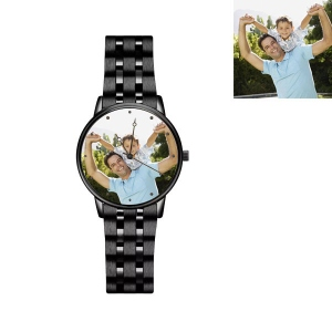 Engraved Men's Photo Black Alloy Watch