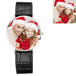 Engraved Men's Photo Black Leather Watch