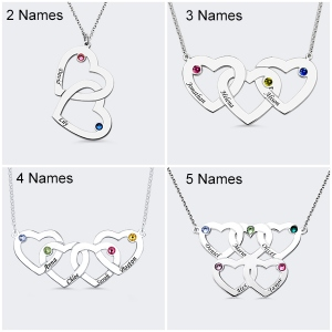 Attractive Sterling Silver Engraved 2-5 Intertwined Hearts With Birthstones Necklace
