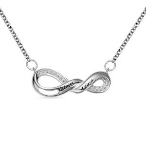 Engraved Infinity Double Name Necklace for Her in Silver