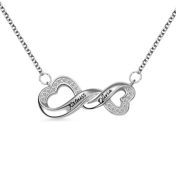 Engraved Infinity Double Heart Name Necklace for Her in Silver