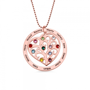 Personalized Family Tree Birthstone Necklace in Silver