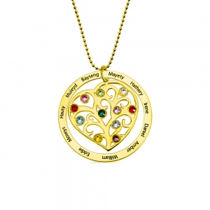 Personalized Family Tree Birthstone Necklace in Gold