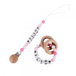 Personalized Silicone Pacifier Clip & Teether