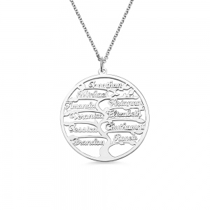 Personalized 1-13 Names Family Tree Necklace
