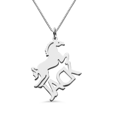 Personalized Horse Name Necklace for Kids Silver
