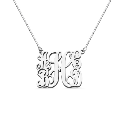 Customized 5 Initials Family Monogram Necklace Silver
