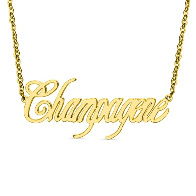 Gold Plated Silver Personalized Champagne Font Name Necklace