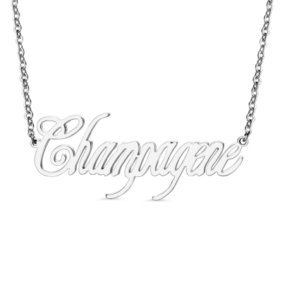 Contemporary Font Unique Name Necklace Sterling Silver