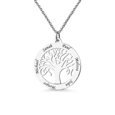 Customizable Tree Of Life Necklace Engraved 6 Names in Silver