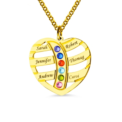 Mother's Necklace With 6 Children Names & Birthstones In Gold