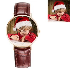 Engraved Women's Photo Brown Leather Watch