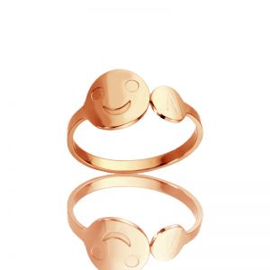 Personalized Smiling Face Ring with Initial Rose Gold