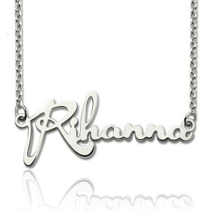 Custom Celebrity Signature Necklace Sterling Silver
