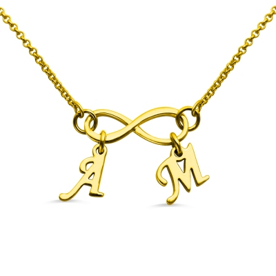 Infinity Pendant Double Initial 18K Gold Plated