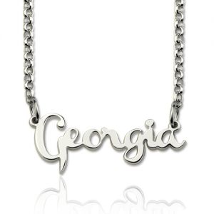 Personalized Cursive  Necklace Signature Sterling Silver