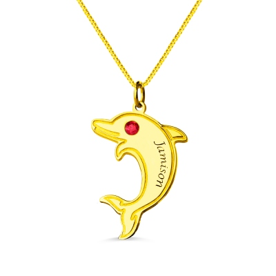 Dolphin Pendant Name Necklace with Birthstone 18k Gold