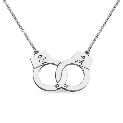Initial Handcuff Necklace For Couple Sterling Silver
