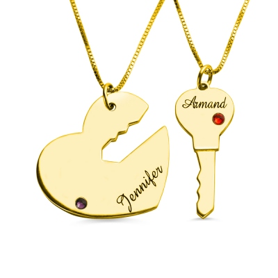 Key to My Heart Couple Necklaces Set of 2 Names Pendant