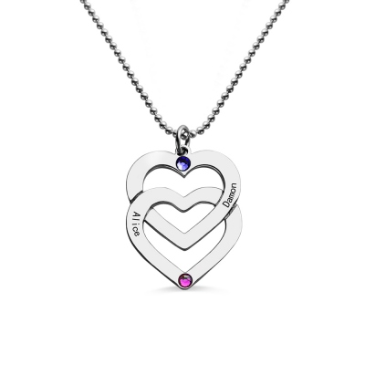 Double Heart Birthstone Necklace Engraved Names Sterling Silver