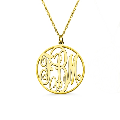 18K Gold Plated Circle Initial Monogram Necklace