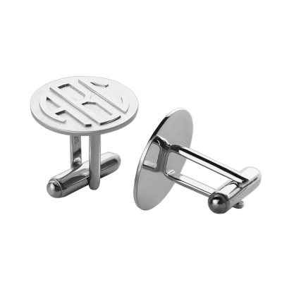 Personalized Men's Cufflinks Block Monogram Sterling Silver