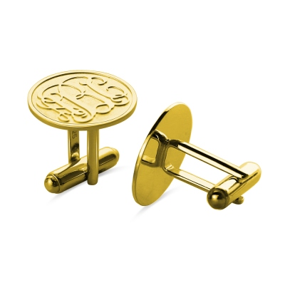 Engraved Disc Cufflinks with Monogram 18k Gold Plated