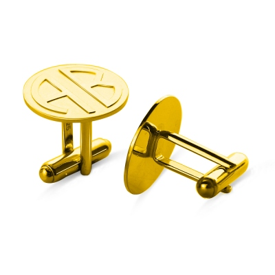 Cufflinks for Men with Block Monogram 18k Gold Plated