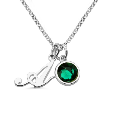 Personalized Birthstone Initial Letter Necklace Sterling Silver