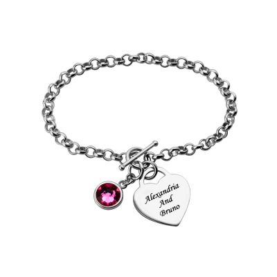 Heart Charm Bracelet with Birthstone & Name in Sterling Silver