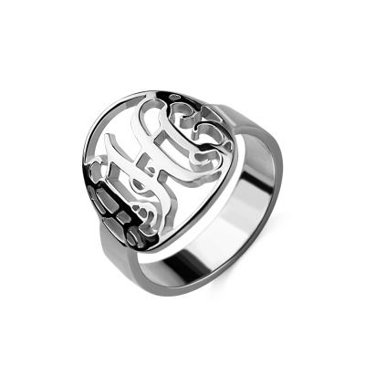 Cut Out Monogram Initial Ring Sterling Silver