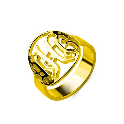 Custom Circle Cut Out Monogrammed Ring 18K Gold Plated