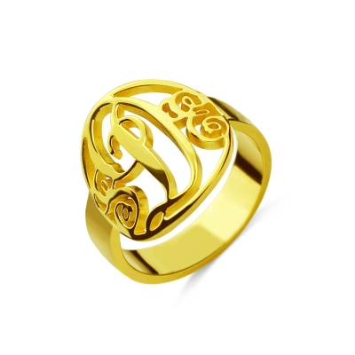 Script Framed Monogram Ring Cut Out 18K Gold Plated