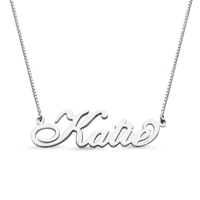 Personalized Sterling Silver Carrie Nameplate Necklace