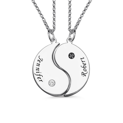 Gifts for Him & Her: Yin Yang Necklace Set with Name & Birthstone