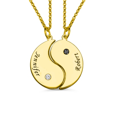 Yin Yang Name Necklaces Set for Couples 18K Gold Plated